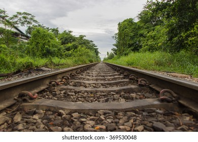 Train tracks in Samut Sakhon, Thailand.