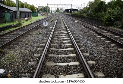 Train tracks in a station, transport detail by rails, trip