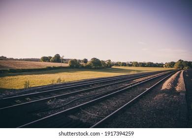 Train tracks at sun set
