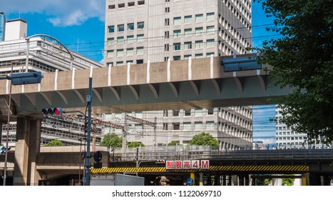 Train tracks in Toyko downtown - TOKYO / JAPAN - JUNE 19, 2018