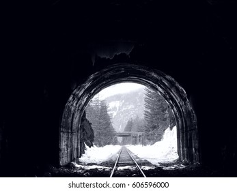 train tracks/tunnels in the mountains