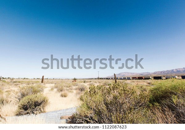 A train transporting containers stretches into the horizon in the hot sun of the Mojave Desert.