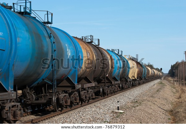The train transports tanks with oil and fuel