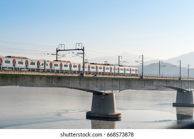 The train is traveling to Seoul railway station in Korea