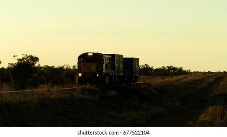 Train travelling at Dawn, Queensland, Australia