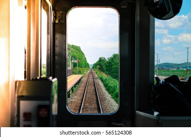 The train is travelling in Japan