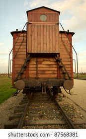 Train wagon in Auschwitz Birkenau concentration camp