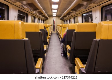 Train wagon interior as seen in Dutch train wagons used for inter city trains