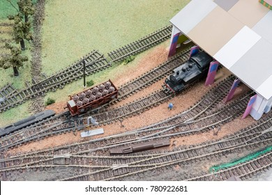 Train and wagon in modeling concept with rails.