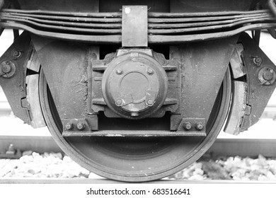 Train Wheel and brake close up on a freight train railway