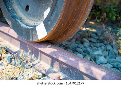 Train wheel on rail way