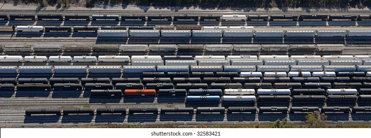 Train yard overhead aerial