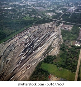 A train yard sprawls across the flat landscape of Chicago, Illinois, one of Americaâ??s largest rail hubs.