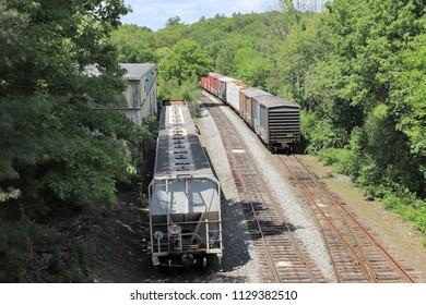 Train Yard View #2 Closeup - Walpole, MA.
