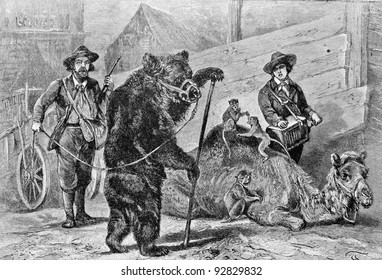 """Trained the brown bear and the camel. Engraving by Specht. Published in magazine """"Niva"""", publishing house A.F. Marx, St. Petersburg, Russia, 1893"""