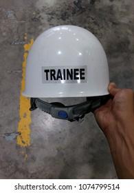 Trainee Safety Helmet on hand