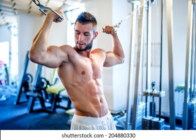 trainer, bodybuilder working out the biceps and the abs in gym on a daily workout routine