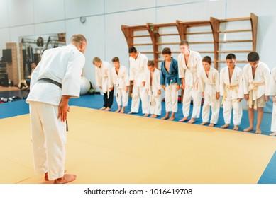 Trainer and childrens in uniform, judo training