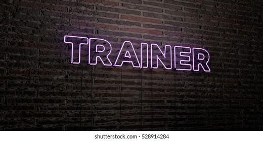 TRAINER -Realistic Neon Sign on Brick Wall background - 3D rendered royalty free stock image. Can be used for online banner ads and direct mailers.