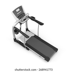 Trainer treadmill isolated on white background. 3d illustration.