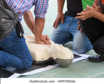Training activities on first aid methods to let people know CPR.