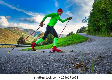 Training an athlete on the roller skaters. Simulates Nordic skiing