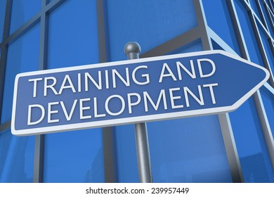 Training and Development - illustration with street sign in front of office building.