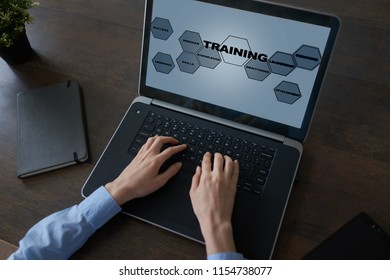 Training and development. Professional growth. Internet and education concept.