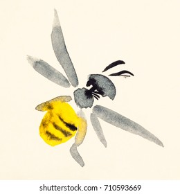 training drawing in suibokuga sumi-e style with watercolor paints - bee painted on cream colored paper