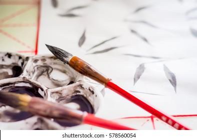 Training exercises Chinese painting Guohua, brush, ink, twigs, bamboo leaves, Selective Focus