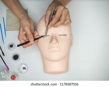 Training eyelash extension on the mannequin.