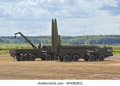 TRAINING GROUND ALABINO, MOSCOW REGION, RUSSIA - SEP 10, 2016: The russian mobile theater ballistic missile system 9K720 Iskander (SS-26 Stone) at the International military-technical forum ARMY-2016