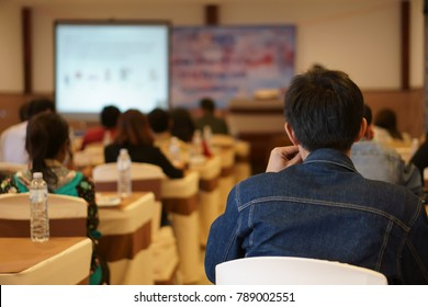 training knowledge seminar and business meeting conference or education academic on warm white with projector screen in class room at convention hall