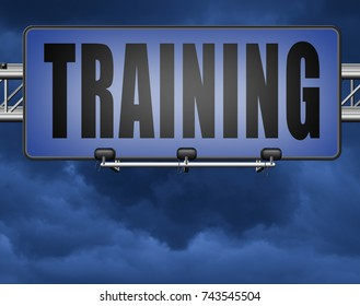 training learning for knowledge and wisdom or physical fitness sport practice work out or education with text and word concept  3D, illustration