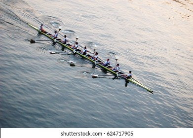 Training on rowing, eight.
