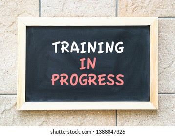 Training in progres, words on a blackboard, a business or human resources concept