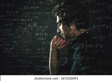 Training and research, concept. Pensive man and physical and mathematical formulas on the background