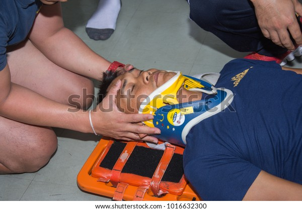 Training Safe Spinal Injurynavy Hospital Bangkok Stock Photo