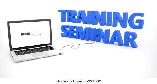 Training Seminar - laptop notebook computer connected to a word on white background. 3d render illustration.