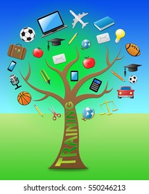 Training Tree With Icons Shows Learning Webinars 3d Illustration