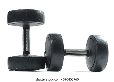 Training weights isolated on white. Pair of black dumbells.