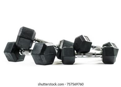 Training weights isolated on white background. Dumbbells.