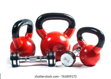 Training weights isolated on white. Dumbbells, kettlebell...