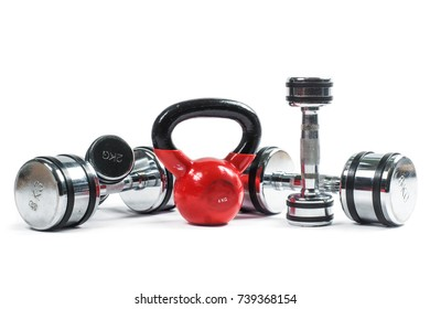 Training weights. pair of dumbbells and kettlebell isolated on white background.