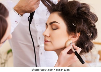 training women in the salon, haircut and styling