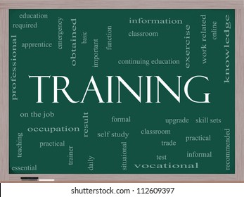 Training Word Cloud Concept on a Blackboard with great terms such as classroom, education, vocational, knowledge, required, test and more.
