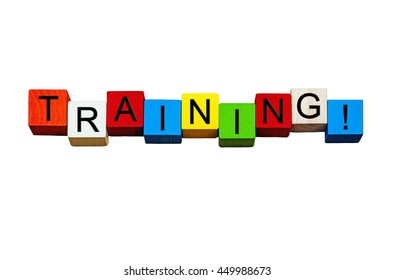 Training word / sign - for education & business, mentors and coaching - in bold letters, isolated on white background.