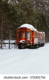 Trains abandoned in the snow. Canfranc - Shutterstock ID 576301756