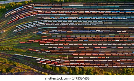 Trains from above. Europe transportation.