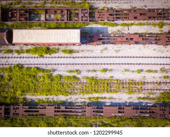 Trains aerial view